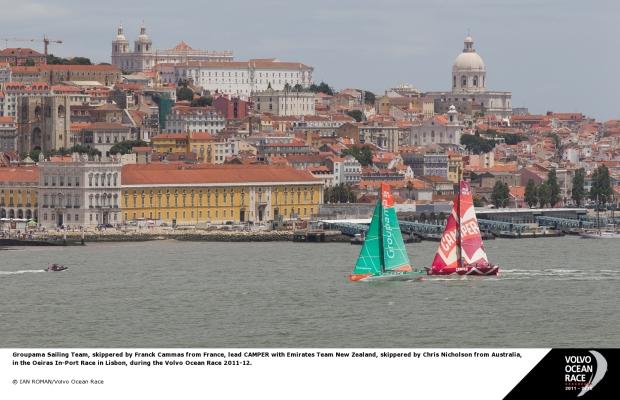 Barcos da Volvo disputam regata in port às margens do Tejo