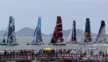 A flotilha em frente ao trapiche