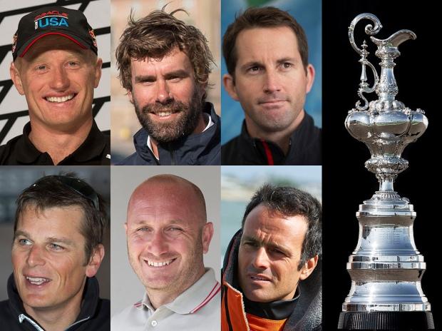 Os seis skippers e a tão famosa taça