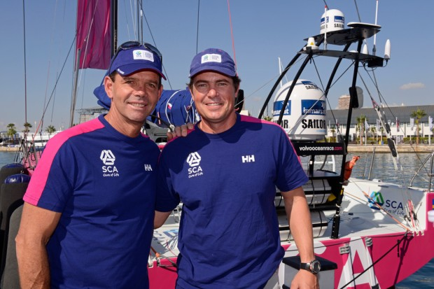 Torben e Joca com o uniforme do Team SCA