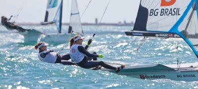 20150610 Copyright onEdition 2015© Free for editorial use image, please credit: onEdition Martine Soffiatti Grael and Kahena Kunze, BRA, Women's Skiff (49erFX) at Day One of the ISAF Sailing World Cup Weymouth & Portland. Returning to the London 2012 Olympic waters, the ISAF Sailing World Cup Weymouth and Portland is taking place between 8-14 June with the racing conducted over five days between 10-14 June at Weymouth and Portland National Sailing Academy. Medal race day on Sunday 14 June will decide the overall event winners in each class. Follow ISAF Sailing World Cup Weymouth and Portland on Twitter - @SailingWC_GBR and Facebook - www.facebook.com/ISAFSailingWorldCup website: http://www.sailing.org/worldcup/regattas/weymouthandportland_2015.php For more information please contact:Pippa Phillips pippa.phillips@intotheblue.biz +44(0)7967 705697 Supported by: UK Sport #EveryRoadToRio, RYA, Icom, SLAM, Volvo Car UK, Yamaha. If you require a higher resolution image or you have any other onEdition photographic enquiries, please contact onEdition on 0845 900 2 900 or email info@onEdition.com This image is copyright onEdition 2015©. This image has been supplied by onEdition and must be credited onEdition. The author is asserting his full Moral rights in relation to the publication of this image. Rights for onward transmission of any image or file is not granted or implied. Changing or deleting Copyright information is illegal as specified in the Copyright, Design and Patents Act 1988. If you are in any way unsure of your right to publish this image please contact onEdition on 0845 900 2 900 or email info@onEdition.com